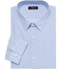 square-print long-sleeve dress shirt