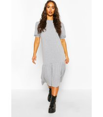 puff sleeve drop hem midi dress, grey marl