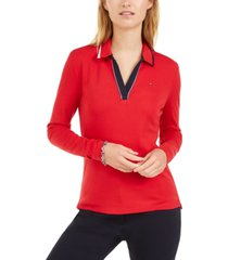 tommy hilfiger cotton long-sleeve polo shirt