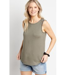 maurices womens 24/7 solid braided arm tank top blue
