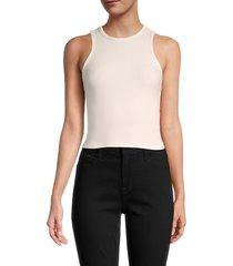frame women's cropped cotton-blend tank top - off white - size xxs