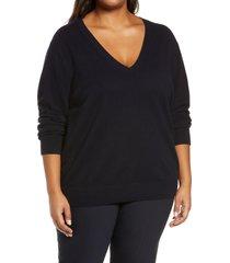 plus size women's vince weekend v-neck cashmere sweater, size xx-large - blue