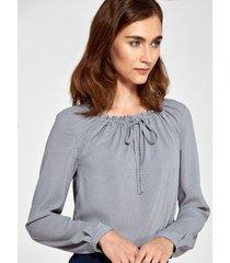 bluzka z marszczonym dekoltem szary w kropki