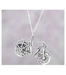 sterling silver pendant necklace, 'fun ride' (india)