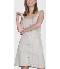 vestido io jardinera look lino beige - calce holgado