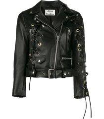 acne studios petite carry-over biker jacket - black