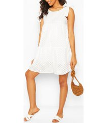 maternity tie shoulder broderie anglais dress, white