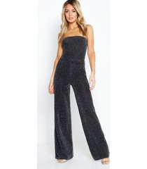 petite strapless wide leg sparkle jumpsuit, black