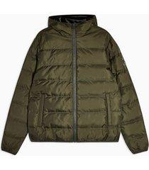 mens khaki hooded puffer liner jacket