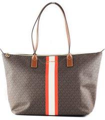 travel large leather stripe top zip tote handbag shoulder bag