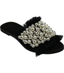 sandalia negra leblu perlas