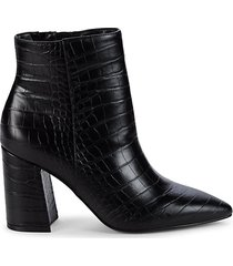 croc-embossed faux leather booties