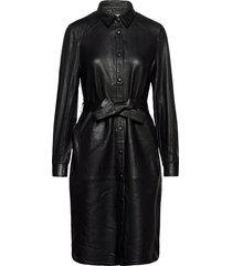 leather dress knälång klänning svart coster copenhagen