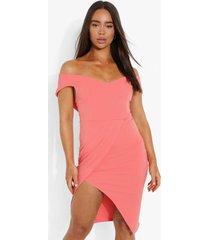midi jurk met wikkelrok en open schouders, coral blush