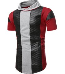 colorblock quilted shawl collar short sleeve t shirt