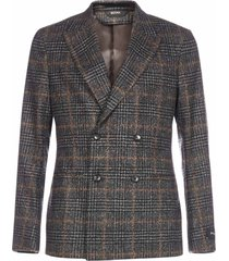 z zegna double-breasted check wool blazer