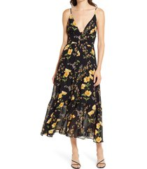 women's reformation jaden floral print tiered midi dress