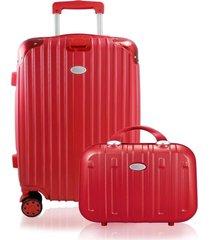 conjunto de mala jack design com frasqueira vermelha