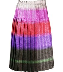 marco de vincenzo pleated lurex stripe skirt - pink