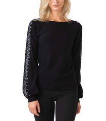 black label women's plus size embellished blouson sleeve pullover sweater