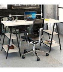 mesa para escritório kuadra 4 prateleiras snow - compace