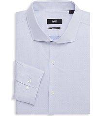 sharp-fit geometric-print dress shirt