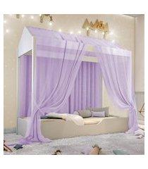 cama casinha montessori solteiro com mosquiteiro lilás casah