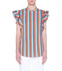 women's akris punto gazebo stripe flutter sleeve top, size 10 - orange
