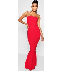 bandeau fishtail maxi dress, red