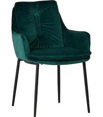 krzesło welurowe kiko ciemno zielone