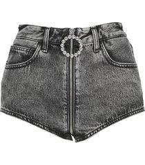 alessandra rich high-waisted denim hot pants