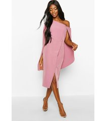 cape detail one shoulder cover button dress, rose