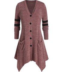 plus size handkerchief pocket single breasted knit cardigan