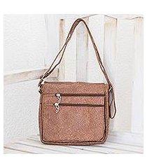 synthetic leather messenger bag, 'mahogany explorer' (costa rica)