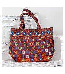 cotton shoulder bag, 'gujarati fanfare' (india)