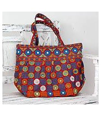 cotton shoulder bag, 'gujarati fanfare' (india)