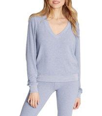 women's wildfox deep v-neck baggy beach jumper pullover, size large - blue