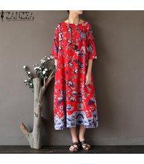 zanzea 3/4 verano de las mujeres camisa larga vestido retro señoras impreso floral de la túnica floja ocasional kaftan vestido más el tamaño l-5xl (rojo) -rojo