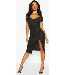 halflange midi-jurk met lovertjes en bandjes, zwart