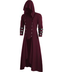 faux leather insert button up gothic hoodie