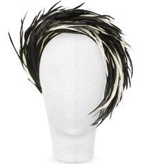 nana' designer women's hats, aurora - black and white feather headband