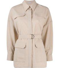 12 storeez belted shirt-detail blouse - neutrals