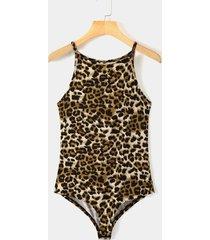 yoins body de leopardo marrón con cuello halter