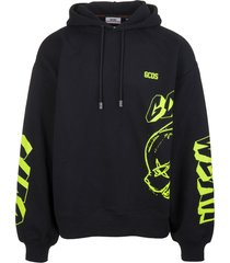 gcds man black hoodie with fluo yellow graffiti