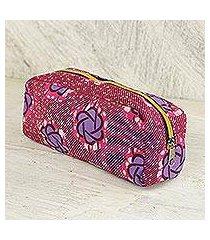 cotton cosmetic case, 'iris stars' (ghana)