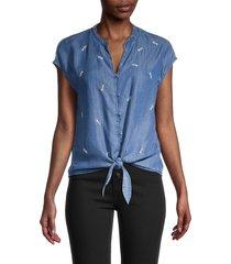 saks fifth avenue women's embroidered tie waist button-down top - medium indigo - size xl