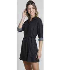 vestido chemise estampado de poá manga longa com faixa preto