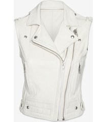 men's leather vest, men white biker jacket, vest for men