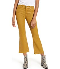 women's ag the quinne coated high waist crop flare jeans, size 31 - yellow