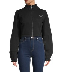 true religion women's dolman-sleeve cropped jacket - onyx - size m